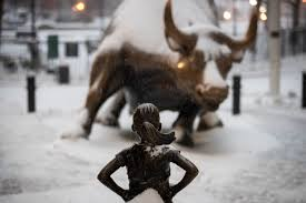 A Fearless Girl Faces Down Bull In Snowstorm