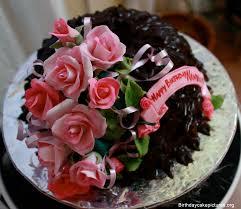 Chocolate Birthday Cake With Flowers