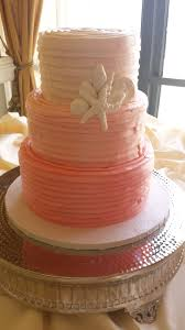 Ombre Coral Beach Wedding Cake
