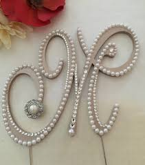 Pearl Cake Topper Monogram Wedding Swarovski Crystals Letter M Rustic Any A