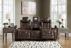 GAME ZONE POWER RECLINING SOFA W/ADJ HEADREST AND DROP DOWN TABLE-BARK