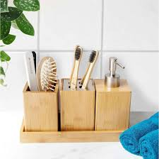 navaris badezimmer set bambus 4 teilig dekoratives