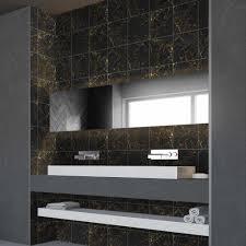 funlife brillante 15 20cm schwarz und gold marmor fliesen aufkleber wasserdicht pvc diy wand aufkleber für badezimmer küche home decor