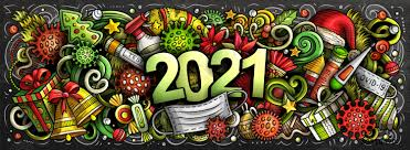 Items Where Year Is 2021 Stock Vector 2021 Doodles New Year And Coronavirus Illustration Colorful Detailed With Lots Of Objects Background All Objects Separate