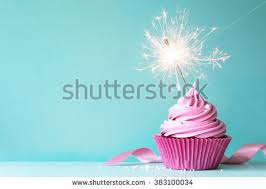 Pink cupcake with sparkler