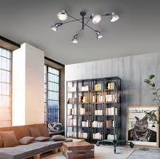 deckenleuchte schwarz eisenfarbig industrial look 6 flammig modern