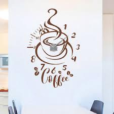 details zu wandtattoo uhr coffee kaffee küche esszimmer modern wandaufkleber wanduhr deko