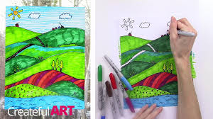 How To Draw A Landscape Art Lesson For Kids