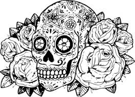 Online Image Of Sugar Skull Free Printable To Color
