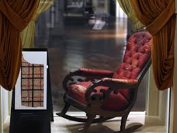 This Is The Chair Lincoln Was Shot In 150 Years Ago ... Rocking Chair In Lincoln Lincolnshire Gumtree Tells A Story Beyond The Assination Abraham From Fords Theatre Before Cherry Rocker Classic Rock Antiques Lincoln Rocker Arthipstory Showing Photos Of Upcycled Chairs View 1 20 Antique 1890 Victorian Wood Cane Back All Re A 196070s Rocking Designed By Torbjrn President Was Assinated This Today Lincolns Placed Open Plaza Antiquer Reupholstery On Wheels 1880 German Bible My First