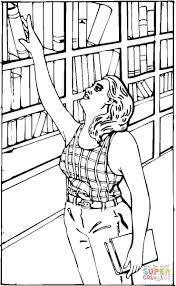 Click The Reaching For A Book In Library Coloring