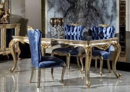 casa padrino luxus barock esszimmer set blau silber gold 1 esstisch 6 esszimmerstühle barock esszimmer möbel edel prunkvoll