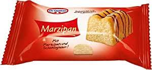 dr oetker fertige kleine marzipankuchen 4er 4 stück à 35 g mini rührkuchen mit marzipan glasiert mit schokolade einzeln verpackt sofort