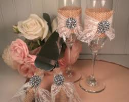 Rustic Wedding Cake Knife And Toasting Flutes Burlap Lace Cutting Serving Set