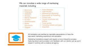 Brochures Catalogues Websites Ad Copy Market Research Surveys Questionnaires Media Documents Slogans We Can Translate A