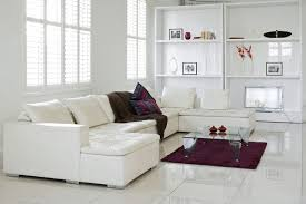 interior white tile flooring living room with black square accent