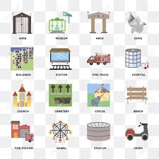 Set Of 16 Icons Such As Vespa, Stadium, Wheel, Fire Station ...