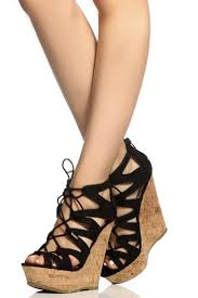Beautiful Wedge Dress Shoes Black Faux Suede Cut Out Lace Up Cork Wedges Cicihot