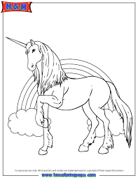 Beautiful Unicorn With Rainbow In Background Coloring Page