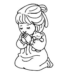 Little Girl Praying Coloring Picture For Kids