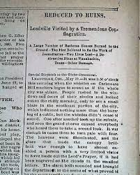Get Quotations LEADVILLE Lake County COLORADO Silver Mining Town FIRE Disaster 1882 Newspaper