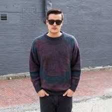 Vintage 80s Mens Mohair Sweater Geometric Wool Men Clothing Retro