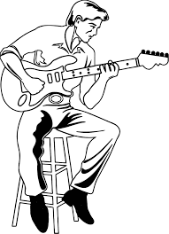 Illustration Of A Man Playing An Electric The Guitar Coloring Page