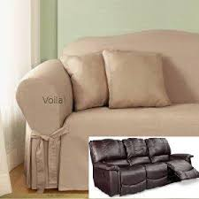 Dual Reclining Sofa Covers by Reclining Sofa Slipcover Cotton Taupe Surefit Recliner Couch Cover