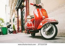 FRANCE PARIS OCTOBER 5 2015 Red Vintage Vespa Sprint Scooter