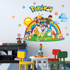 Removable Kids Bedroom Decor 3d Pokemon Wall Stickers Children Room Decals Home Wallpaper