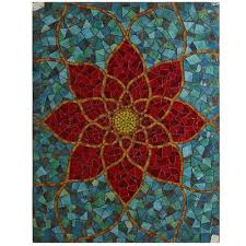 Red Mosaic Flower Wall Panel