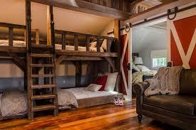 Kids Rustic Room With Bunk Beds And Barn Door