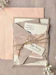 Rustic Blush Lace Calligraphy Wedding Invitations