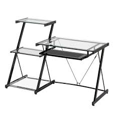 Z Line Nero puter Desk and Bookcase Black Metal and Glass
