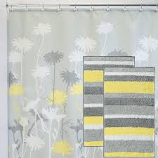 Gray Yellow And White Bathroom Accessories by Cool Yellow Shower Curtain With Gray Accent And White Zig Zag