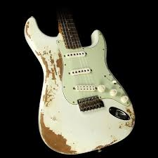 Fender Custom Shop Used 60s Stratocaster Heavy Relic Roasted Mahogany Electric Guitar Olympic White