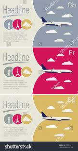Tourism Travel Agency Posters Set Airplane In The Sky With Clouds