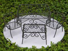 Miniature Dollhouse FAIRY GARDEN Furniture Rustic Iron 4 Piece Bench Set NEW