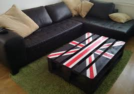 Pallet Coffee Table And British Flag Print Also Narrow Design Shaped With Black Wood Painted Compact Style Ideas