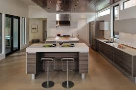 Awesome Interior Modern Kitchen Island Trends Can Be Decor With Brown Cabinet On The Wooden Floor