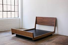 Ab5 Queen Size Contemporary Walnut Floating Platform Bed For
