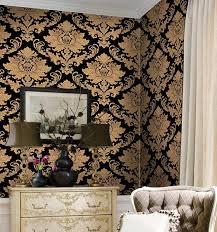 großhandel einzigartige schwarzes gold klassischen damast europäische pvc vinyl tapete schlafzimmer wohnzimmer ktv bar tapete nmm367 19 59