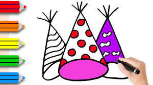 Coloring Pages Birthday Hat Drawing Colouring For Kids Colored Markers