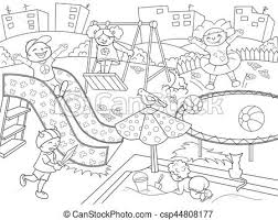 Childrens Playground Coloring Vector Illustration Of Black And White