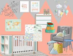 Coral And Mint Crib Bedding by Crib Bedding Neutral Adventure Modern Custom Crib Nursery