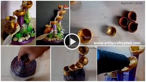 How To Make Artificial Waterfall Showpiece With Waste Materials