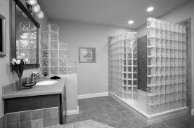 black ceramic floor glass shower white washbasin wall mirror
