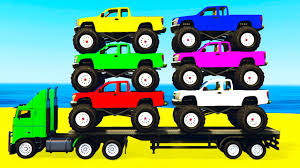100 Kids Monster Trucks LEARN COLORS W Truck Learn Numbers For W Cars Cartoon Learning Video