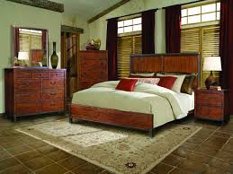 Bedroom Astounding Dark Brown Wooden Drawers And White Furry Rug For Your Rustic Western