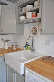 White beadboard backsplash with my light grey cabinets and my